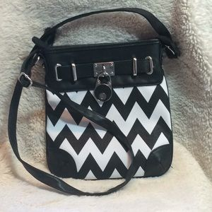 Handbags - Black and White Chevron Purse.